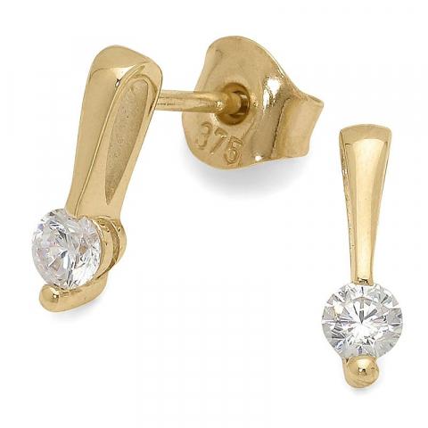 Fina örhängestift i 9 karat guld med zirkoner