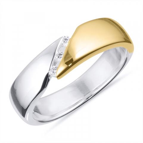 Bred ring i silver med 8 karat guld
