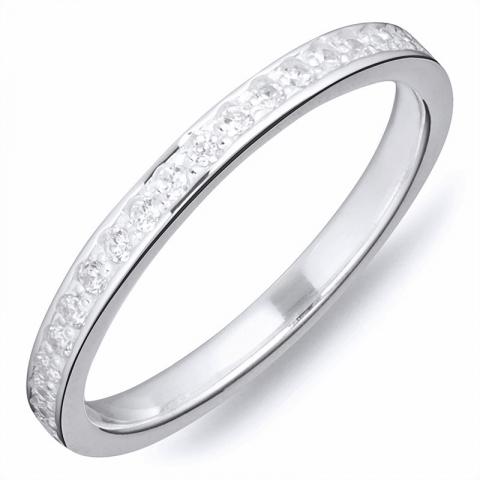 Moderna vit zirkon ring i silver