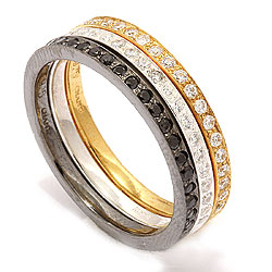 Tre i en ring i silver med oxiderat sterlingsilver med förgyllt silver