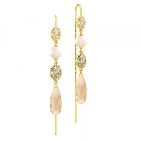 Långt julie sandlau örhängen i silver med 22 karat förgyllning persikofärgade zirkoner rosa zirkoner gråa zirkoner