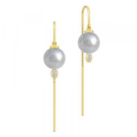 Elegant julie sandlau örhängen i silver med 22 karat förgyllning vita zirkoner