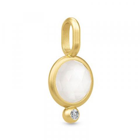 söta Julie Sandlau hängen i silver med 22 karat förgyllning vit månsten vit zirkon