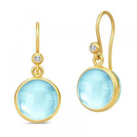 Söta Julie Sandlau runda blå örhängen i förgyllt silver ljusblåa kristaller vita zirkoner