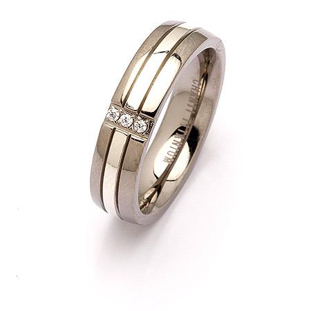 kampajn -  ring i titan och silver
